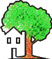 cartoon tree sheltering a house